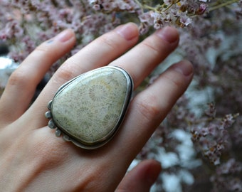 Fossilized Coral Silver Ocean Statement Ring size 6.5