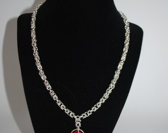 Gorgeous Byzantine Chain Necklace with Rosette Pendant - Silver Plate