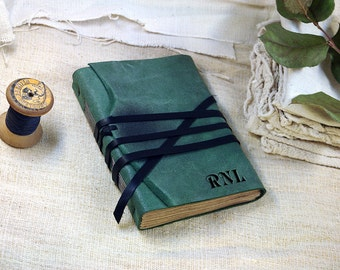 writing journal - monogram journal, green leather cover notebook - suede leather notebook, sketchbook, vintage style blank pages