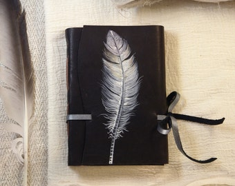 quill leather journal - feather plume - handmade leather journal, notebook diary with parchment pages