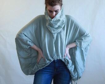 Women top, linen cape, boho top, kimono top, crop top, turtle neck top, oversize top, plus size top, soffisticated , ligth green, blue,black