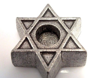 Vintage Pewter Magen David, Star of David Candleholder with 5 Blue candles, Judaica