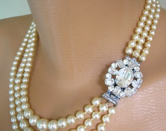 Vintage Pearl Choker, Statement Necklace, Pearl Necklace, Mother of the Bride, Great Gatsby Jewelry, Wedding Necklace, Bridal Jewelry, Deco