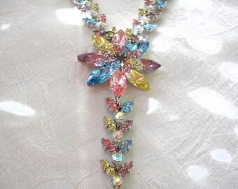 Great Gatsby Jewelry, Bridal Jewelry, Wedding Necklace, Rhinestone Necklace, Art Deco, Wedding, Bridal, Spring Wedding, Aqua, Pink, Pastel