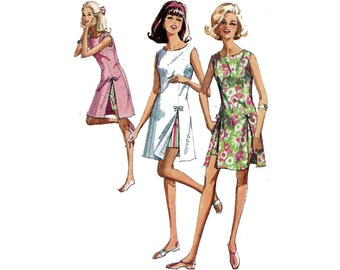 1960s Play Dress and Shorts Pattern Sleeveless Princess A Line Tennis Dress Front Slits Simplicity 6013 Bust 34 Vintage Sewing Pattern