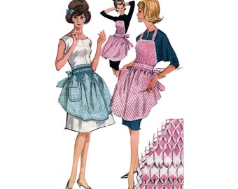 1960's Smocked Gingham Aprons Pattern Bib or Half Round Apron Rick Rack Trim Hostess Accessory Vintage Sewing Pattern McCalls 6664 One Size