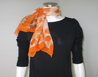 Vintage 1960s Sheer Orange Abstract Dot Scarf Fall Autumn