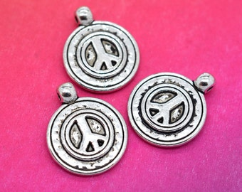 Peace Sign Charms, 10 pcs, 16mm, Bracelet Charms, Peace Sign Pendant, Silver Charms - C423