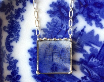 Broken china jewelry necklace antique English flow blue castle 1880 flow blue china