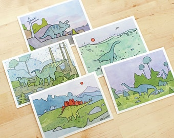 Dinosaur card set, 10 illustrated cards, fun dinosaur cards for kids