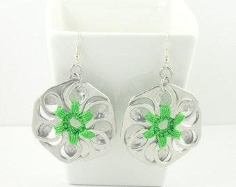 Green pop tab flower earrings, pop tab earrings, crochet earrings, upcycled earrings, recycled earrings, pull tab earrings