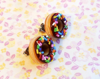 Polymer Clay Chocolate Frosted With Rainbow Sprinkles Doughnut Stud Post Earrings
