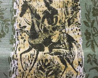 SALE - 50s Unique, Novel Moderne, Wood Block Print/Lurex/Cotton Shantung/OP/Dark n Light Olive/Cornflower/White background on Sea green Grnd