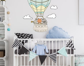 WALL DECAL -- Woodland Hot Air Balloon -- Nursery Art