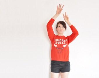 r e s e r v e d red chicago bulls sweatshirt . basketball fan team jumper .extra small.xs .sale
