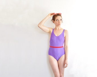 royal purple one piece swimsuit . classic solid 1 pc bathing suit .medium .sale