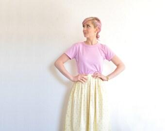 ice cream social skirt . pastel yellow high waist print skirt .extra small.small.xs .sale