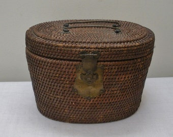 Vintage Chinese Woven Basket Tea Caddy - Teapot Warming Basket