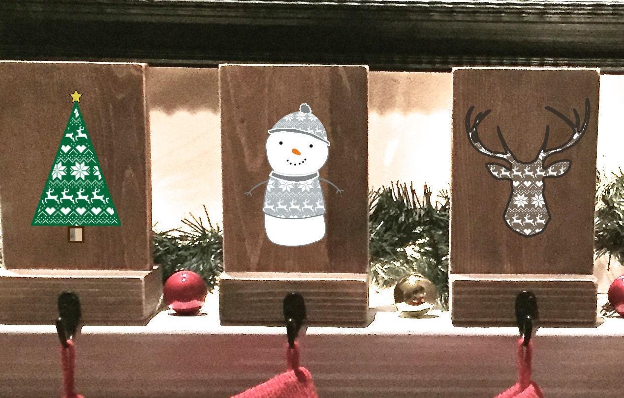 stocking holders reclaimed wood set of 4 rustic christmas. Black Bedroom Furniture Sets. Home Design Ideas