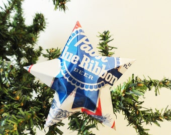 Pabst Blue Ribbon Beer Stars Christmas Ornaments , Set of 2, Aluminum Can Upcycled PBR, Mancave, Gift Toppers