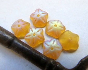 NEW FROSTED APRICOT Bead Caps  . Czech Cupped Glass Flower Beads . 10 mm (20 beads)