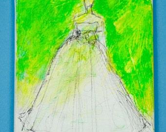Wedding Gown, Painting, Original  Art,