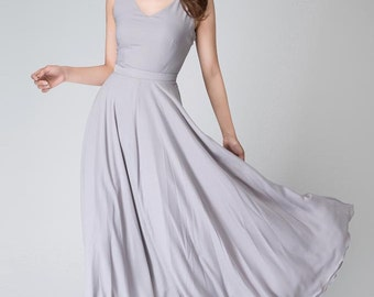 Prom dress, chiffon dress, grey dress, dresses for women, simple dress, bridesmaid dress, maxi dress,  summer dress, plus size dress (1525)
