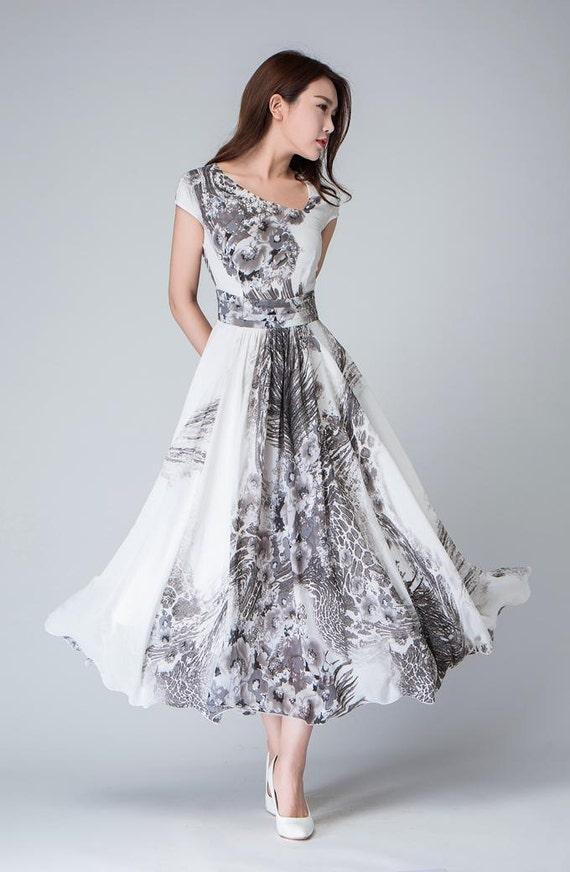 print dress, cocktail dress, Prom dress, maxi dress, chiffon dress, long dress, women dresses, cap sleeve dress, party dress, custom  (1512)