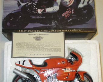VINTAGE Harley-Davidson VR1000 Superbike Replica Collectible Motorcycle 98209-95V Orange Motorcycle Collectible