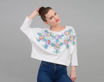 Vintage 80s White Crop Top IRIDESCENT Floral Artsy Puff Paint Shirt Oversize Dolman Sleeve Cropped Shirt ONE SIZE