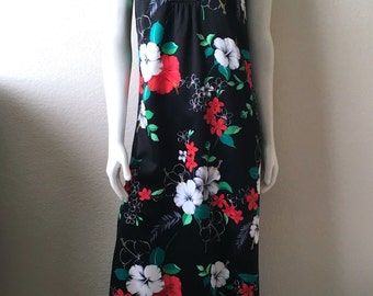 Vintage Women's 70's Otaheite, Hawaiian Maxi Dress, Black, Floral, Sleeveless (M)