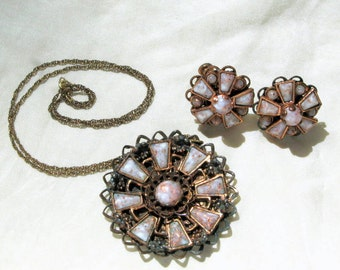 Necklace Earrings Lucite Set Vintage 50s Costume Jewelry