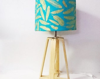 Teal with Gold Feathers Wooden Table Lamp- Scandi Design, Bedside Lamp