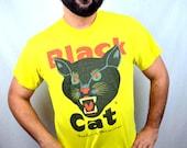 Vintage 80s 90s Black Cat Fireworks RAD Yellow Tee Tshirt Shirt