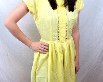 Vintage 1950s Yellow Spring Summer Cotton Day Dress - XS - Kathi Originals