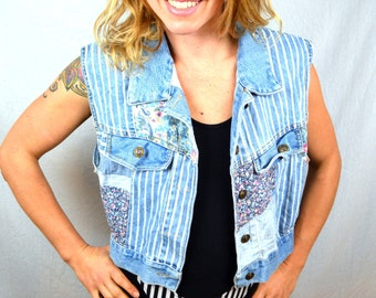 Vintage 80s 90s Express Floral Denim Jean Party Vest