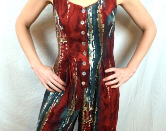 Vintage 80s 90s All That Jazz Open Back Summer Playsuit Romper