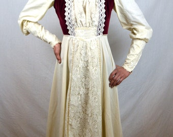 Gorgeous Vintage Gunne Sax by Jessica McClintock Velvet Marroon Red and White 70s 1970s Peasant Prairie Wedding Dress