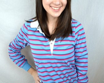 Vintage 1980s 80s Striped Top Shirt
