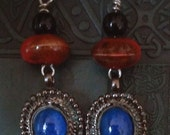 Blue Rust Ceramic Ethnic Style Earrings