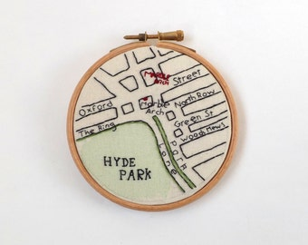 Marble Arch, Hyde Park London Map Embroidery Wall Hanging in Wooden Hoop Frame