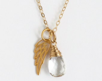 Miscarriage Necklace with April's Birthstone Crystal Quartz / Delicate Gold Angel Wing Necklace / Baby Loss Sympathy Gift