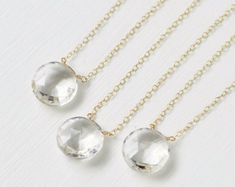 Rock Crystal Necklace / Crystal Quartz Necklace / Gold Clear Gemstone Necklace / Gold Colorless Gemstone / Round Coin Briolette