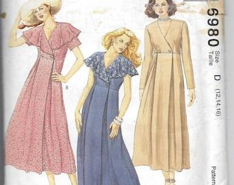 Uncut, Misses Size 12-16, Sewing pattern, Mccalls 6980, Woman, Dress, Pleats, Loose Fit, Ankle Length, Soft Romantic, Empire Waistline