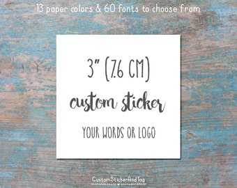 "custom stickers, square shape 3"", wedding favor stickers, product labels, logo stickers, favor stickers, personalized stickers (S-143)"