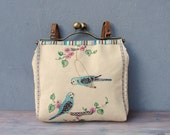 Parakeets Bird Bag - Romantic Birds, Vintage Embroidery, Linen, Kiss-lock