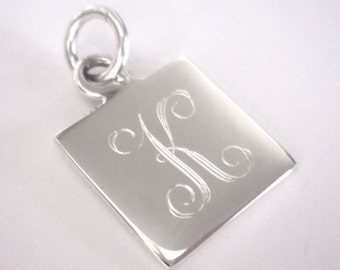 Engravable Sterling Silver Square Charm
