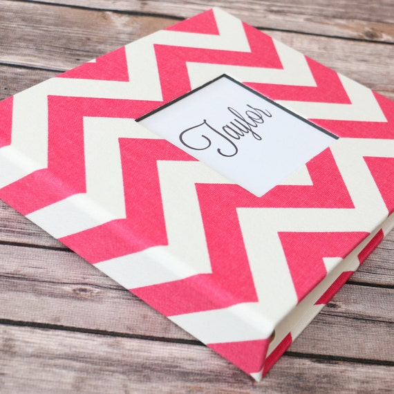 Baby  Book - Pink and White Chevron  (80 designed journaling pages & personalization included with every album)