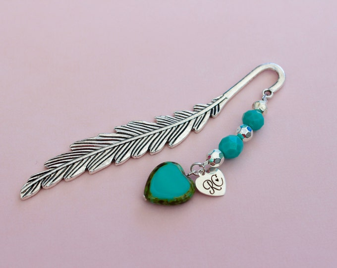 Turquoise Feather Beaded Bookmark.