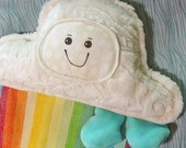 Mini Cloudy Rainbow Plush - Spoonflower Rainbow Fabric - Calico Sunshine Radiating Rainbow